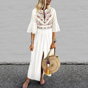 The Gigi Boho Maxi Dress, white, bell sleeves S